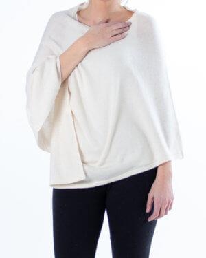Hvit poncho av cashmere - Uten knapper