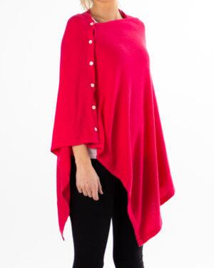 Rød poncho av cashmere