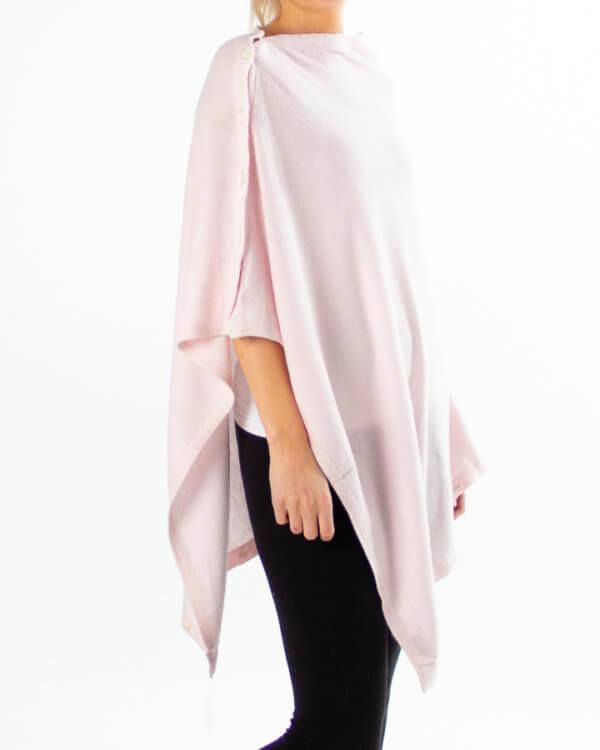 Lys rosa cashmere / kasjmir poncho