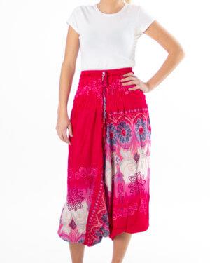 Yoga - Haremsbukse med røde og rosa detaljer