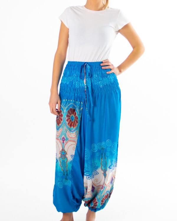 Blå haremsbukse perfekt for yoga