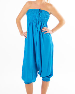 Ensfarget lysblå haremsbukse til yoga