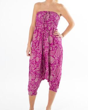 Rosa haremsbukse med blomstrete mønster